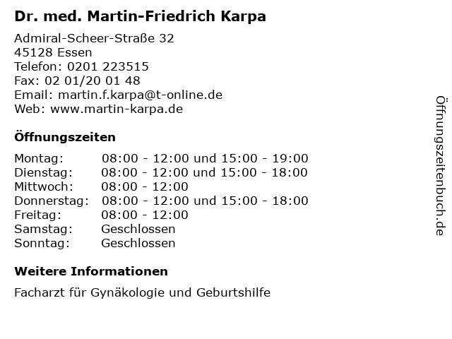 Dr. med. Martin-Friedrich Karpa in Essen: Adresse und Öffnungszeiten