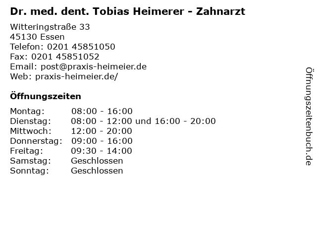 Dr. med. dent. Tobias Heimerer - Zahnarzt in Essen: Adresse und Öffnungszeiten
