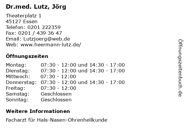 Dr.med. Lutz, Jörg in Essen: Adresse und Öffnungszeiten