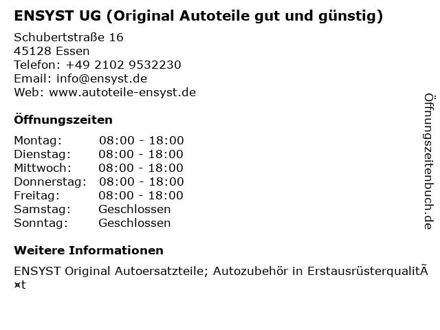 ENSYST UG (Original Autoteile gut und günstig) in Essen: Adresse und Öffnungszeiten