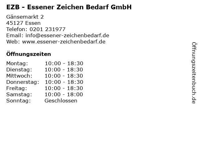 EZB - Essener Zeichen Bedarf GmbH in Essen: Adresse und Öffnungszeiten