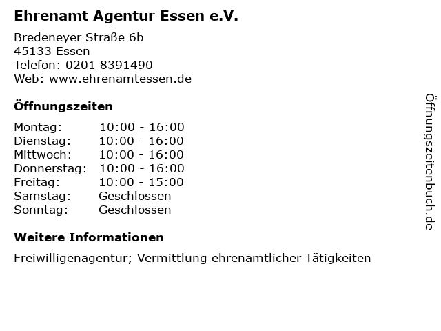 Ehrenamt Agentur Essen e.V. in Essen: Adresse und Öffnungszeiten