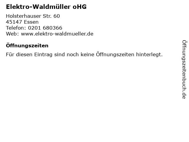 Elektro-Waldmüller oHG in Essen: Adresse und Öffnungszeiten