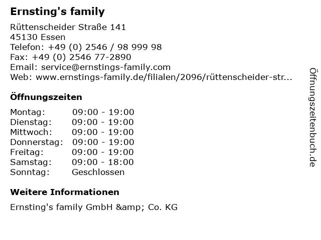 Ernsting's family in Essen: Adresse und Öffnungszeiten