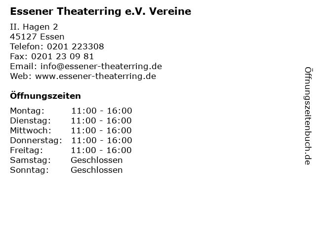 Essener Theaterring e.V. Vereine in Essen: Adresse und Öffnungszeiten