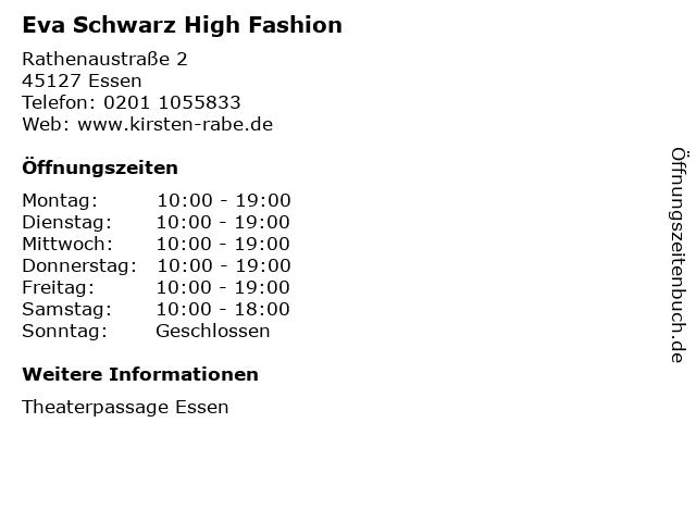 Eva Schwarz High Fashion in Essen: Adresse und Öffnungszeiten