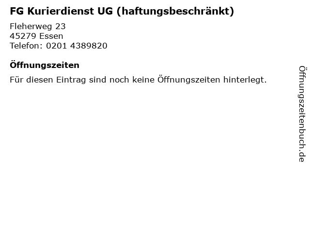 FG Kurierdienst UG (haftungsbeschränkt) in Essen: Adresse und Öffnungszeiten