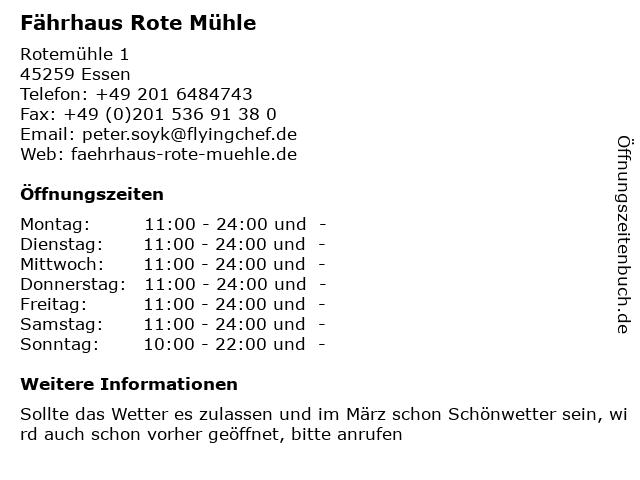 Fährhaus Rote Mühle in Essen: Adresse und Öffnungszeiten