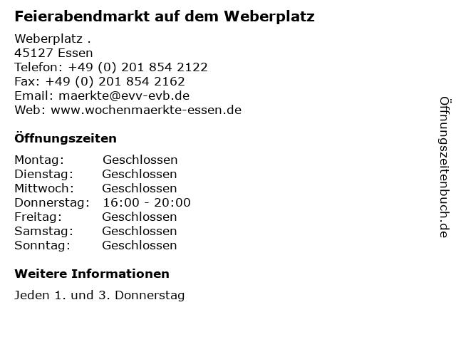 Feierabendmarkt auf dem Weberplatz in Essen: Adresse und Öffnungszeiten