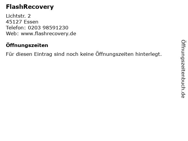 FlashRecovery in Essen: Adresse und Öffnungszeiten