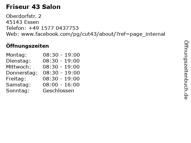 Friseur 43 Salon in Essen: Adresse und Öffnungszeiten