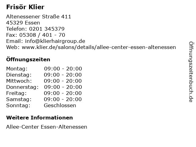 Frisör Klier GmbH in Essen: Adresse und Öffnungszeiten