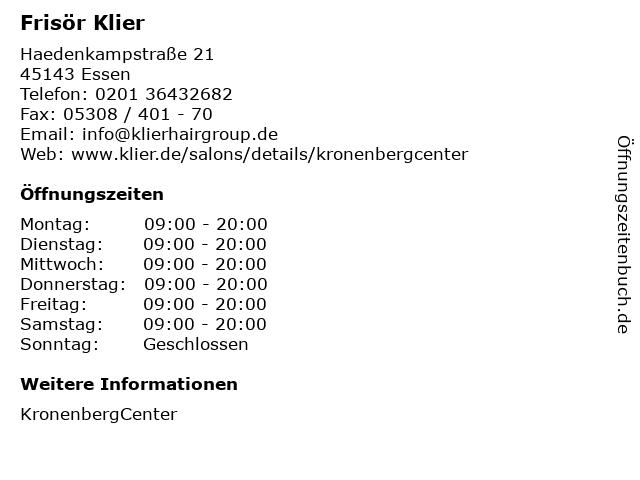 Frisör Klier in Essen: Adresse und Öffnungszeiten