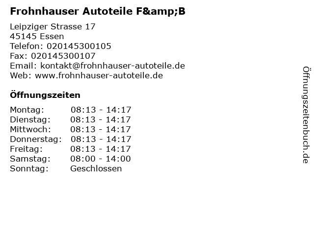 Frohnhauser Autoteile F&B in Essen: Adresse und Öffnungszeiten