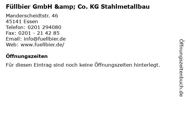 Füllbier GmbH & Co. KG Stahlmetallbau in Essen: Adresse und Öffnungszeiten