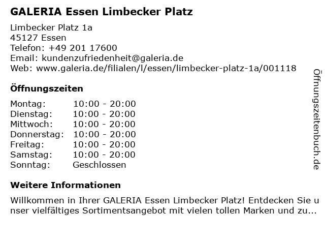 GALERIA (Karstadt) Essen Limbecker Platz in Essen: Adresse und Öffnungszeiten
