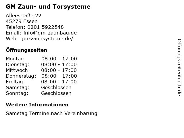 GM Zaun- und Torsysteme in Essen: Adresse und Öffnungszeiten