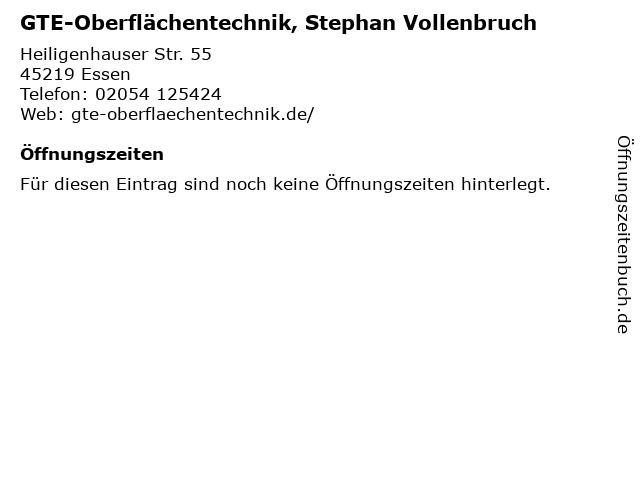 GTE-Oberflächentechnik, Stephan Vollenbruch in Essen: Adresse und Öffnungszeiten