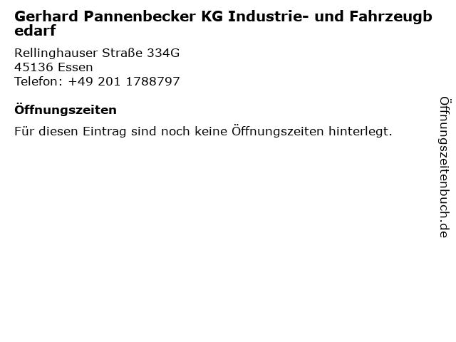 Gerhard Pannenbecker KG Industrie- und Fahrzeugbedarf in Essen: Adresse und Öffnungszeiten