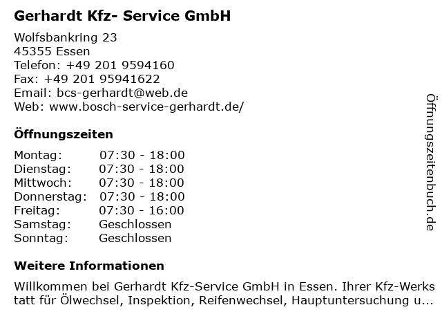 Gerhardt Kfz-Service GmbH in Essen: Adresse und Öffnungszeiten