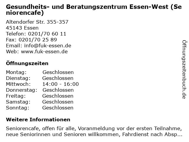 Gesundheits- und Beratungszentrum Essen-West (Seniorencafe) in Essen: Adresse und Öffnungszeiten