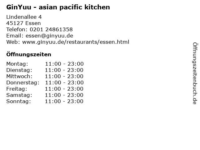 GinYuu - asian pacific kitchen in Essen: Adresse und Öffnungszeiten
