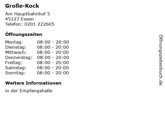Große-Kock in Essen: Adresse und Öffnungszeiten