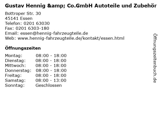 Gustav Hennig & Co.GmbH Autoteile und Zubehör in Essen: Adresse und Öffnungszeiten