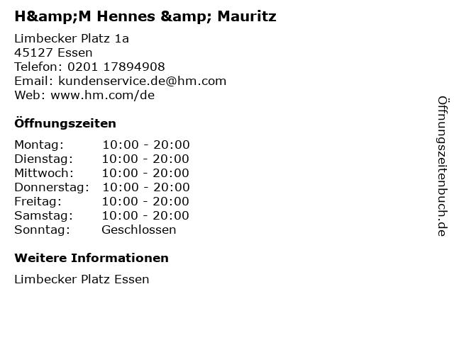 H&M Hennes & Mauritz in Essen: Adresse und Öffnungszeiten
