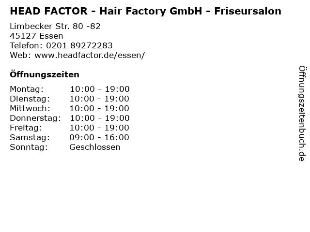 HEAD FACTOR - Hair Factory GmbH - Friseursalon in Essen: Adresse und Öffnungszeiten