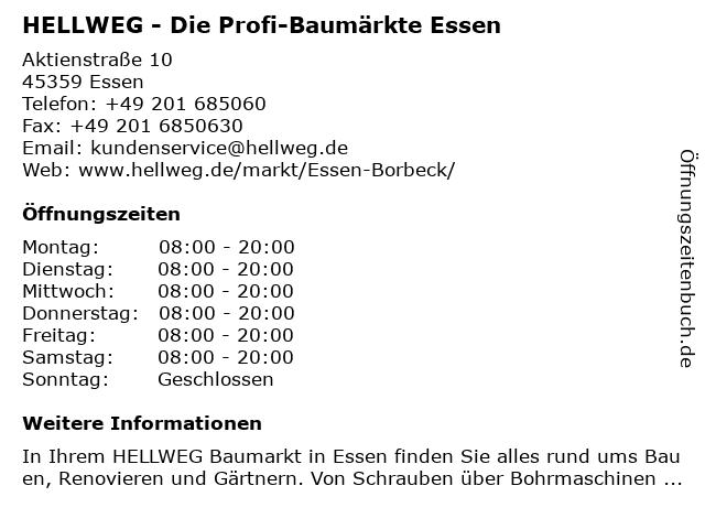 HELLWEG - Die Profi-Baumärkte Essen-Borbeck in Essen: Adresse und Öffnungszeiten