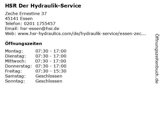 HSR Der Hydraulik-Service in Essen: Adresse und Öffnungszeiten