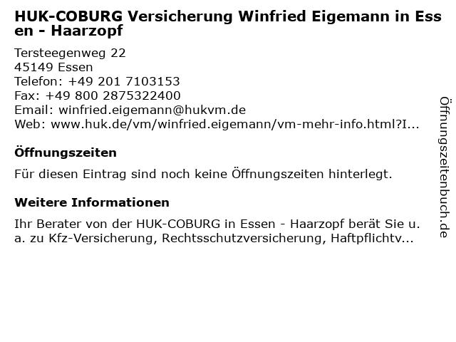 HUK-COBURG Versicherung Winfried Eigemann in Essen - Haarzopf in Essen: Adresse und Öffnungszeiten