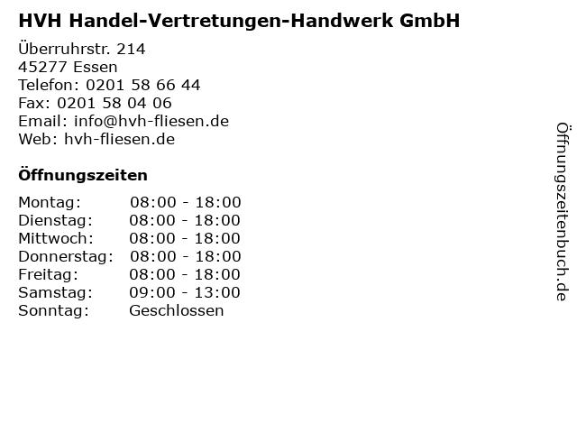 HVH Handel-Vertretungen-Handwerk GmbH in Essen: Adresse und Öffnungszeiten