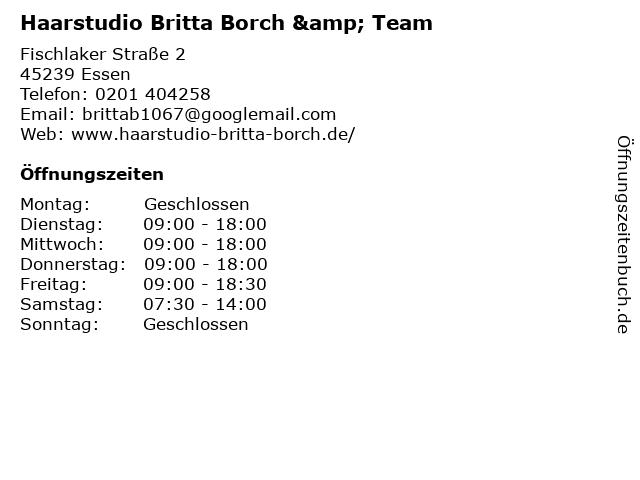 Haarstudio Britta Borch & Team in Essen: Adresse und Öffnungszeiten