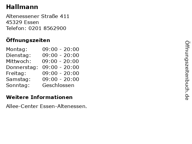 Hallmann in Essen: Adresse und Öffnungszeiten