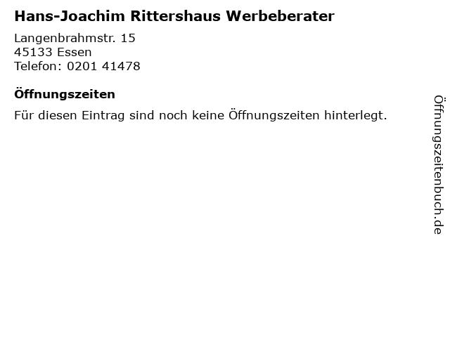 Hans-Joachim Rittershaus Werbeberater in Essen: Adresse und Öffnungszeiten