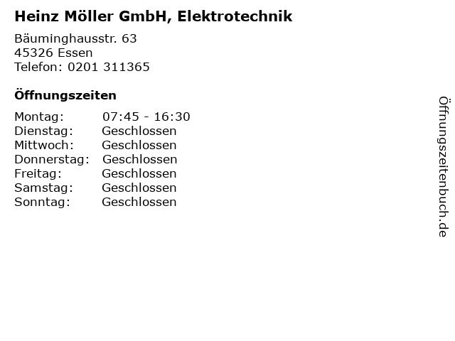 Heinz Möller GmbH, Elektrotechnik in Essen: Adresse und Öffnungszeiten