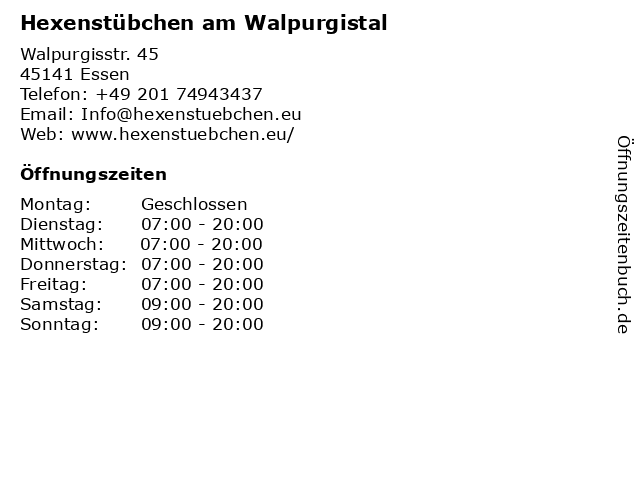 Hexenstübchen am Walpurgistal in Essen: Adresse und Öffnungszeiten