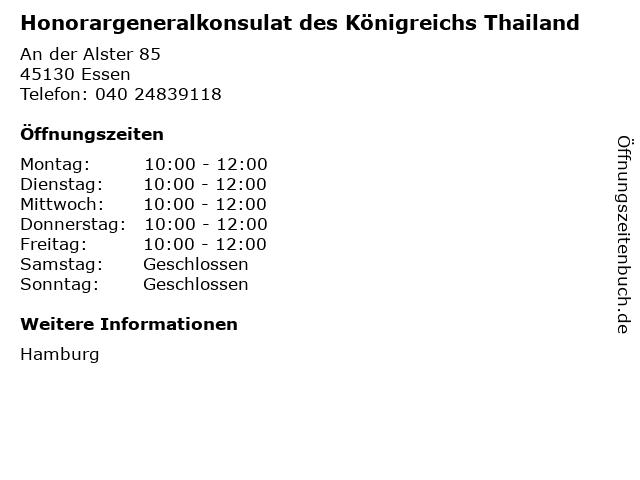 Honorargeneralkonsulat des Königreichs Thailand in Essen: Adresse und Öffnungszeiten