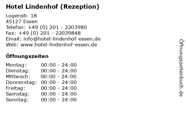 Hotel Lindenhof (Rezeption) in Essen: Adresse und Öffnungszeiten