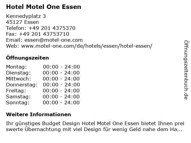 Hotel Motel One Essen in Essen: Adresse und Öffnungszeiten