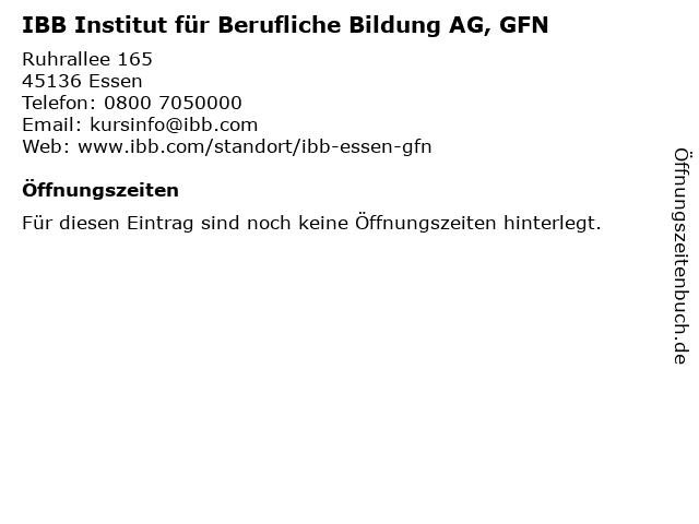 IBB Institut für Berufliche Bildung AG, GFN in Essen: Adresse und Öffnungszeiten