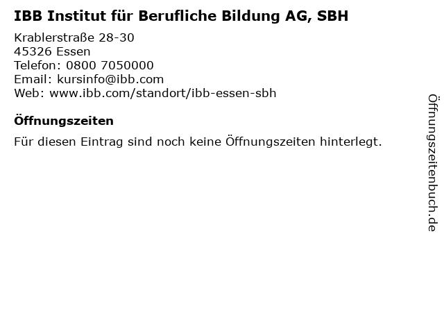 IBB Institut für Berufliche Bildung AG, SBH in Essen: Adresse und Öffnungszeiten