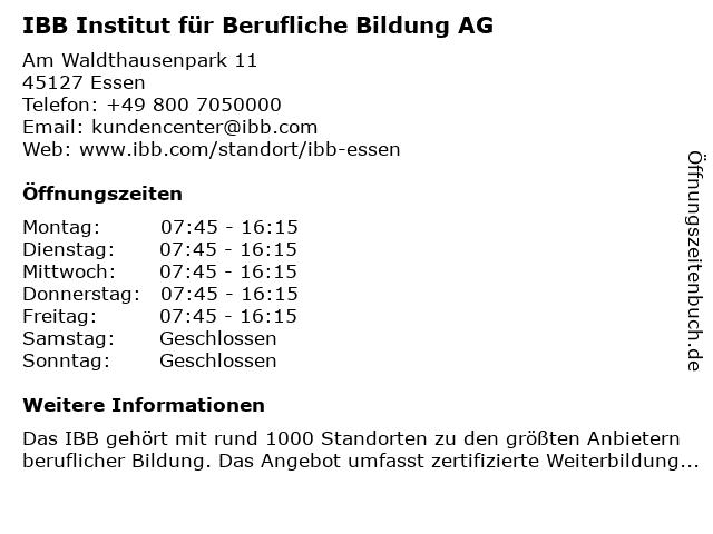 IBB Institut für Berufliche Bildung AG in Essen: Adresse und Öffnungszeiten