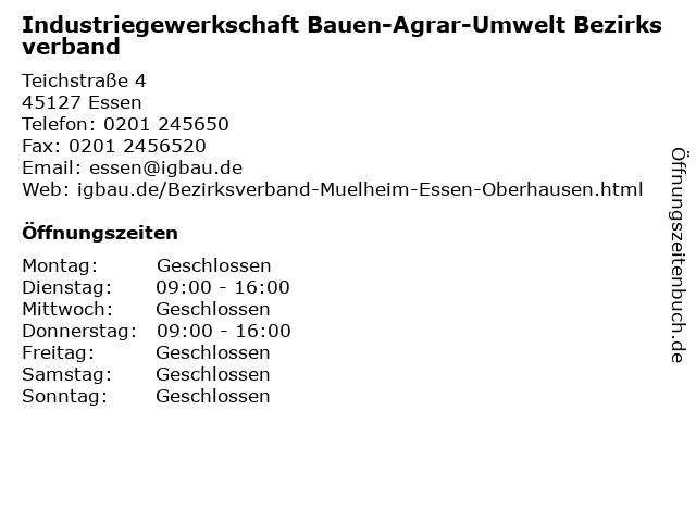 Industriegewerkschaft Bauen-Agrar-Umwelt Bezirksverband in Essen: Adresse und Öffnungszeiten