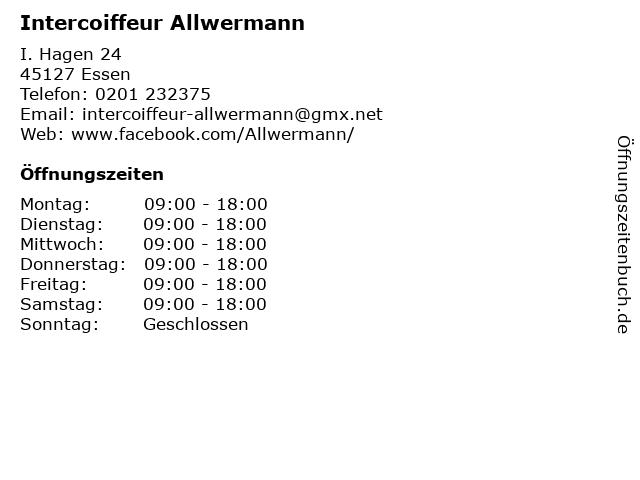 Intercoiffeur Allwermann in Essen: Adresse und Öffnungszeiten