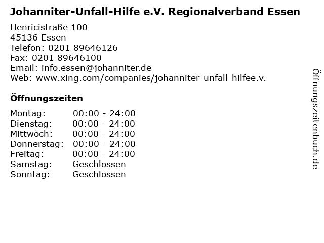 Johanniter-Unfall-Hilfe e.V. Regionalverband Essen in Essen: Adresse und Öffnungszeiten
