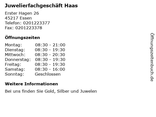 Juwelierfachgeschäft Haas in Essen: Adresse und Öffnungszeiten