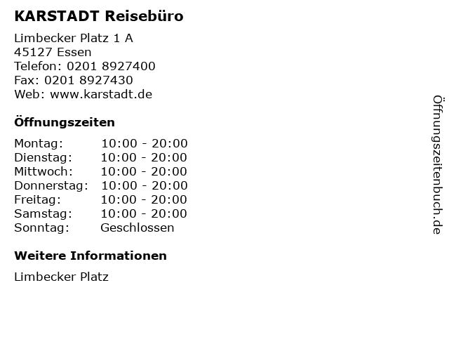 KARSTADT Reisebüro in Essen: Adresse und Öffnungszeiten